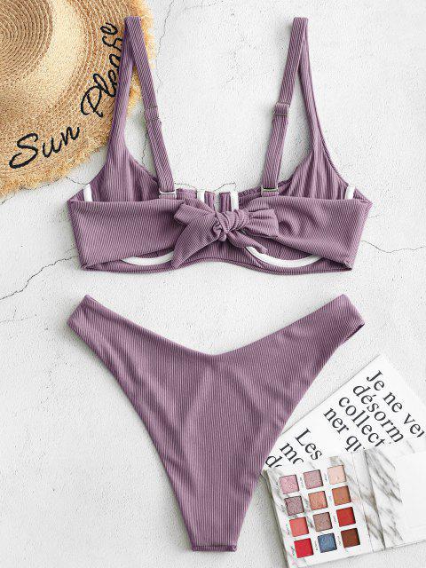 ZAFUL Bikini Acanalado con Aros - Púrpura Oscuro L Mobile