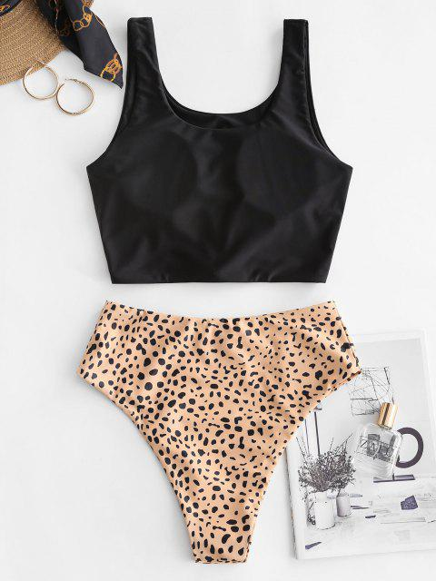 outfits ZAFUL Knot Animal Print Tankini Swimsuit - ORANGE GOLD S Mobile