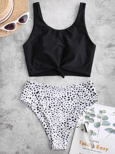 ZAFUL  Verknoteter Tankini-Badeanzug mit Dalmatinischem Muster - Schwarz L Mobile