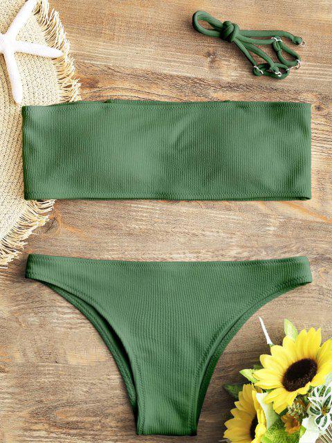 Ensemble Bikini Bandeau Texture Côtelé - Vert L Mobile