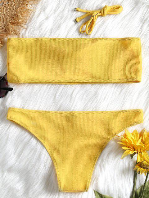 outfit Ribbed Texture Bandeau Bikini Set - YELLOW M Mobile