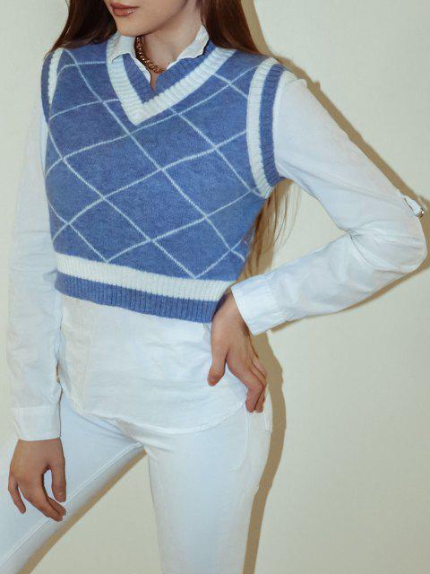 Camisola de Colete Bloco de Cores de Gola de V - Azul L Mobile