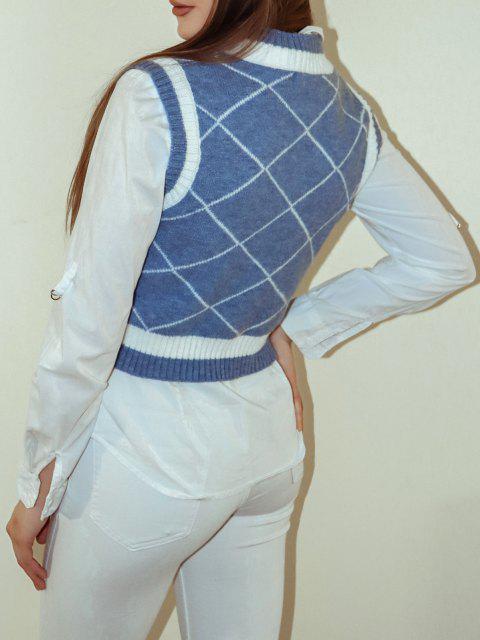 Rhombus V Ausschnitt Farbblock Pullover Weste - Blau S Mobile