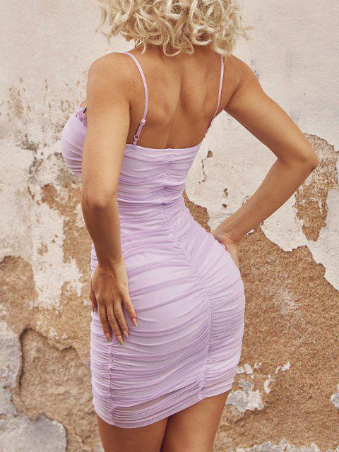 fancy Mesh Lace Trim Ruched Cami Bodycon Dress - PURPLE M Mobile