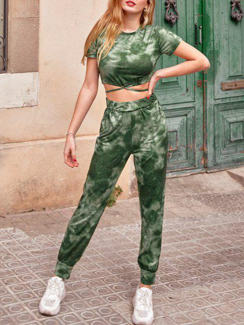 hot Tie Dye Sports Drawstring Hem Pants Set - DEEP GREEN M Mobile