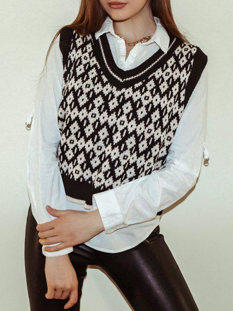 womens V Neck Geo Sweater Vest - MULTI-B ONE SIZE Mobile