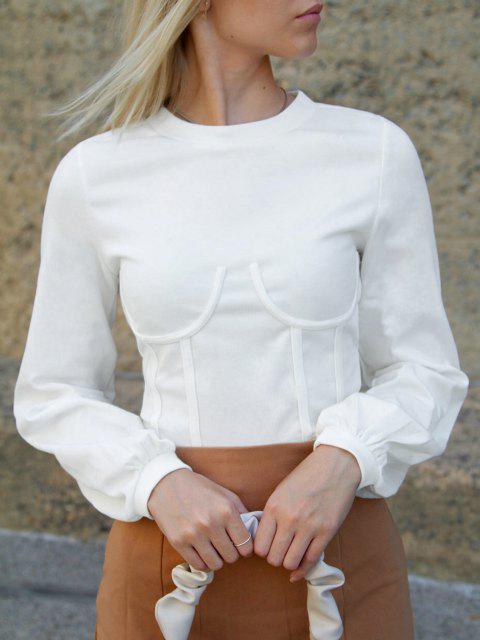 ZAFUL Underbust Crop Corset Sweatshirt - حليب ابيض XL Mobile