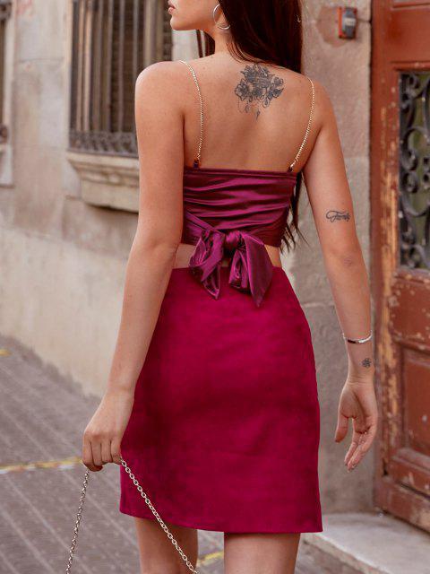 Bustino Annodato Indietro in Raso con Catena di ZAFUL - Profondo rosso S Mobile