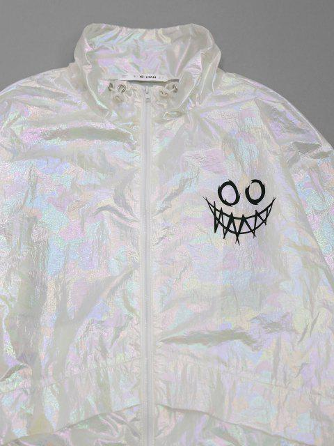 womens ZAFUL Cartoon Face Print Iridescent Color Jacket - WHITE M Mobile
