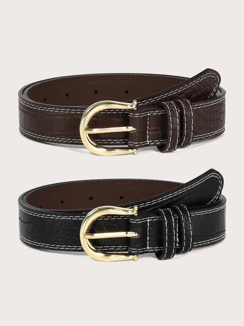 buy Classic Animal Embossed Stitching Buckle Belt Set - MULTI  Mobile