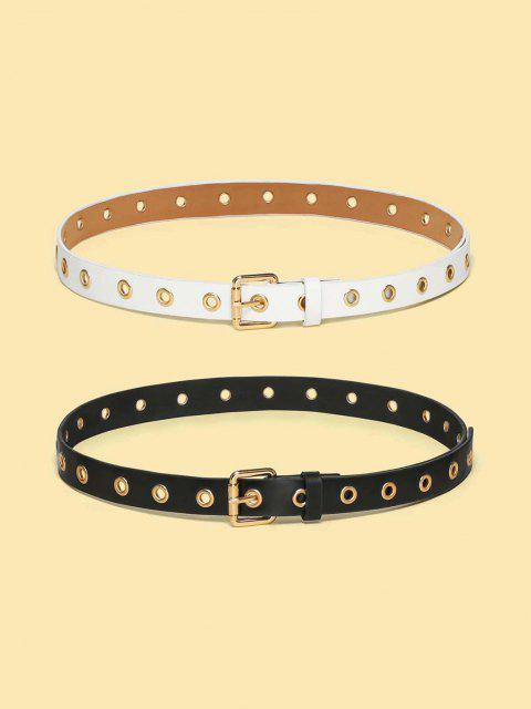 womens Punk Grommet Rivet Embellished Buckle Belt Set - MULTI  Mobile
