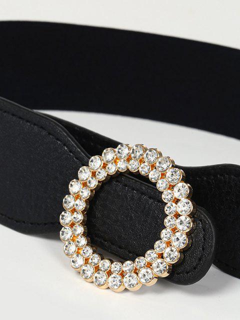 ladies Round Shape Rhinestone Inlaid Elastic Waist Belt - BLACK  Mobile