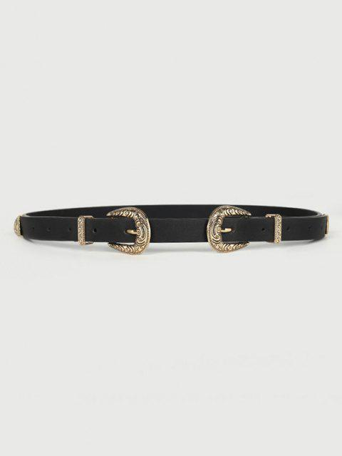 buy Carved Double Buckle Western Belt - BLACK  Mobile