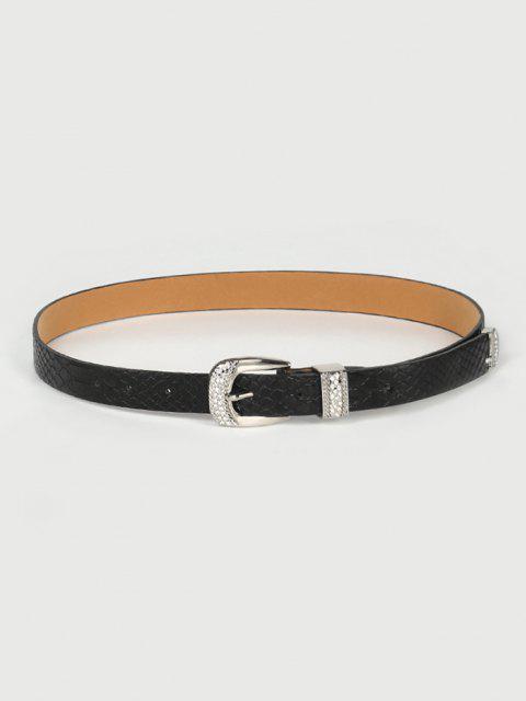 Retro Rhinestone Pin Buckle Belt - أسود  Mobile