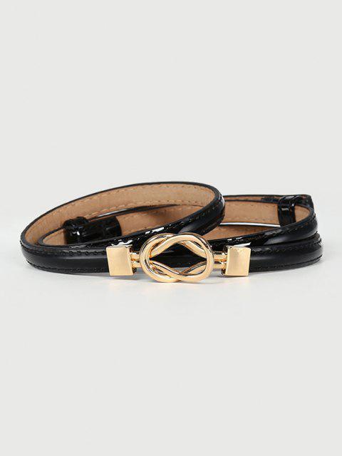 unique Knotted Shape Buckle Skinny Dress Belt - BLACK  Mobile