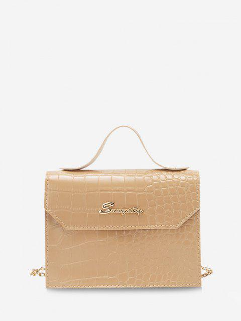 affordable Letter Pattern Chain Crossbody Bag - CAMEL BROWN  Mobile