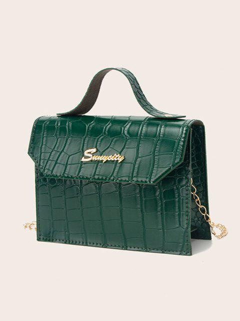 women Letter Pattern Chain Crossbody Bag - MEDIUM FOREST GREEN  Mobile