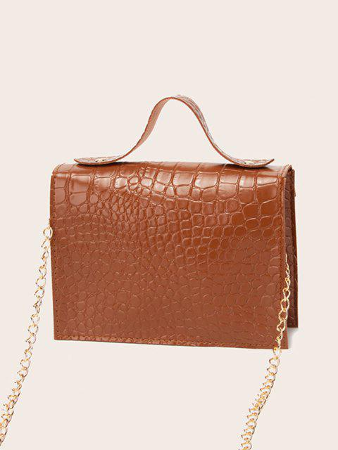 women's Letter Pattern Chain Crossbody Bag - BROWN  Mobile
