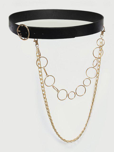 women Layered Detachable Chains Buckle Belt - BLACK  Mobile