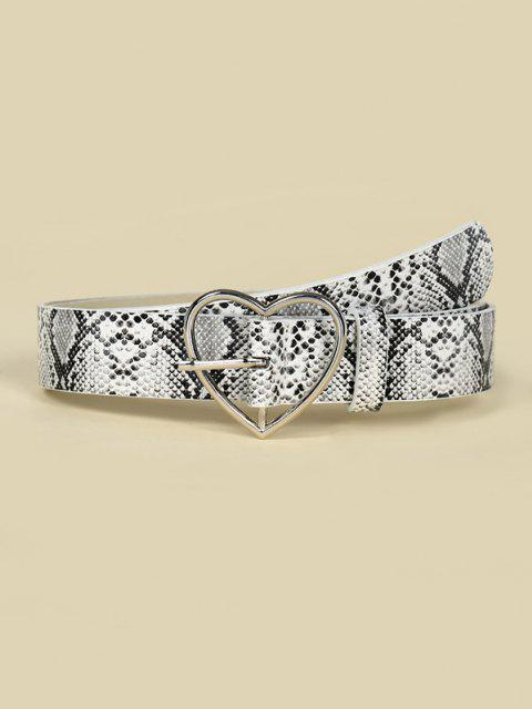 ladies Heart Buckle Snakeskin Pattern Belt - WHITE  Mobile