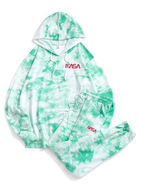 shops Letter Pattern Tie Dye Hoodie and Pants Set - GREEN S Mobile