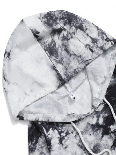trendy Letter Pattern Tie Dye Hoodie and Pants Set - BLACK XL Mobile