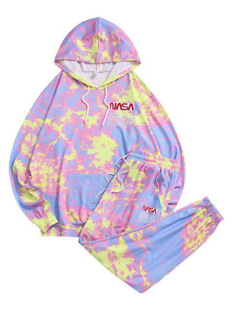 fashion Letter Pattern Tie Dye Hoodie and Pants Set - LIGHT PINK 2XL Mobile