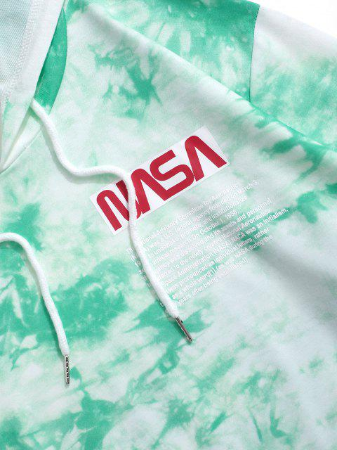 womens Letter Pattern Tie Dye Hoodie and Pants Set - GREEN M Mobile