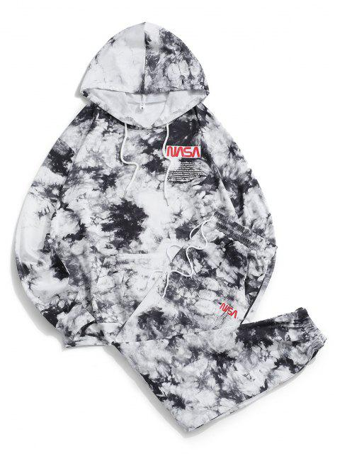 outfits Letter Pattern Tie Dye Hoodie and Pants Set - BLACK S Mobile