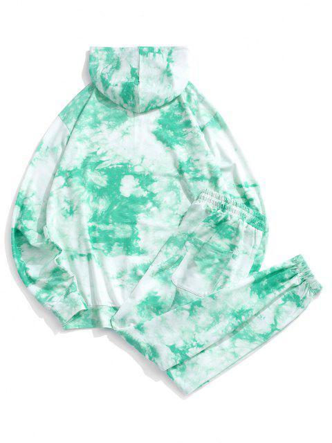 fancy Letter Pattern Tie Dye Hoodie and Pants Set - GREEN 2XL Mobile