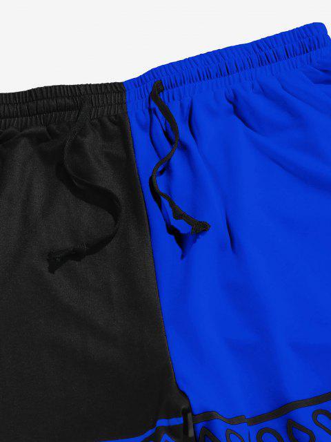 fancy ZAFUL Paisley Print Contrast Sports Pants - BLUE 2XL Mobile