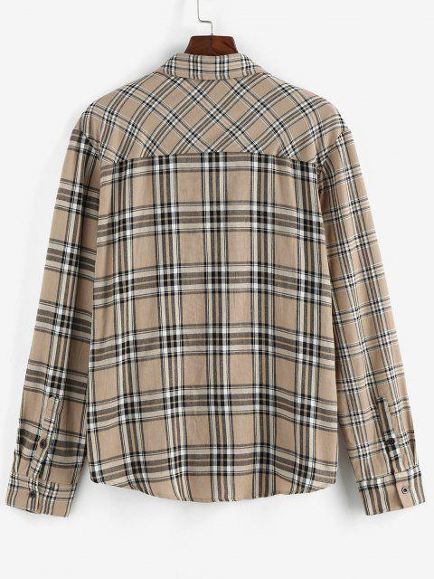 ZAFUL Plaid Print Long Sleeve Shirt - القهوة الخفيفة XXL Mobile
