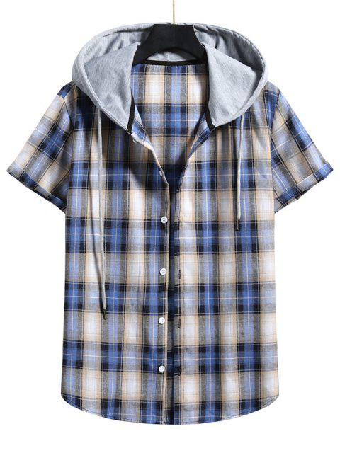unique Plaid Print Short Sleeve Color Blocking Hooded Shirt - LAPIS BLUE XXL Mobile