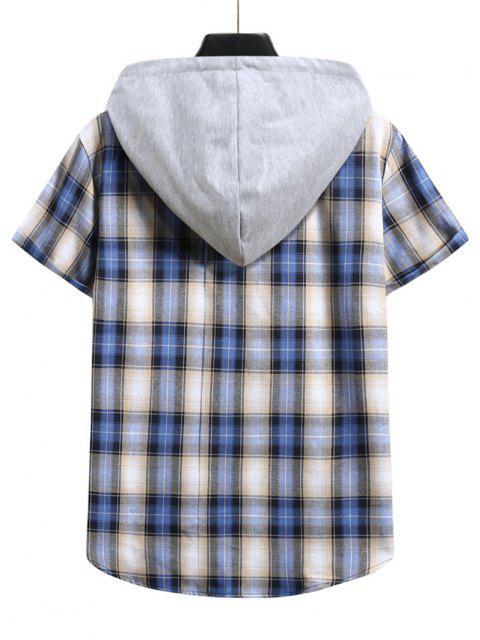 Kurzärmliges Farbblock Hemd mit Karomuster - Lapisblau XXL Mobile
