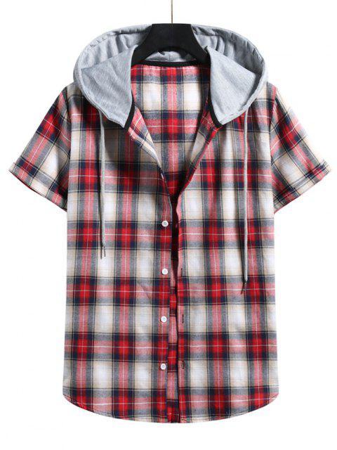 women Plaid Print Short Sleeve Color Blocking Hooded Shirt - LAVA RED XL Mobile