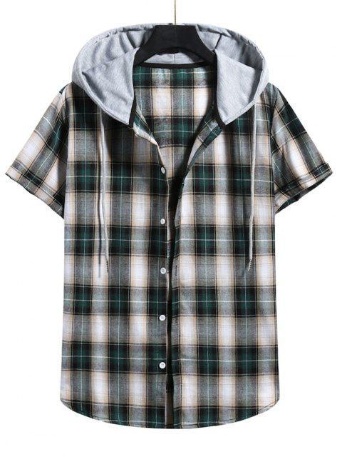 best Plaid Print Short Sleeve Color Blocking Hooded Shirt - DARK FOREST GREEN XL Mobile