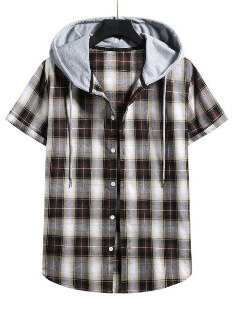 outfits Plaid Print Short Sleeve Color Blocking Hooded Shirt - WOOD L Mobile