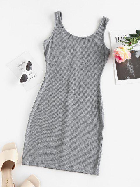 ZAFUL Robe Moulante Côtelée avec Bouton - Gris XL Mobile