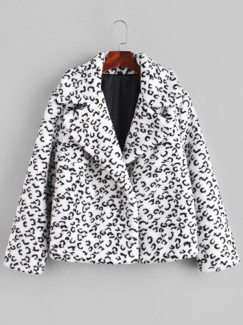 chic Leopard Lapel Teddy Coat - BLACK L Mobile