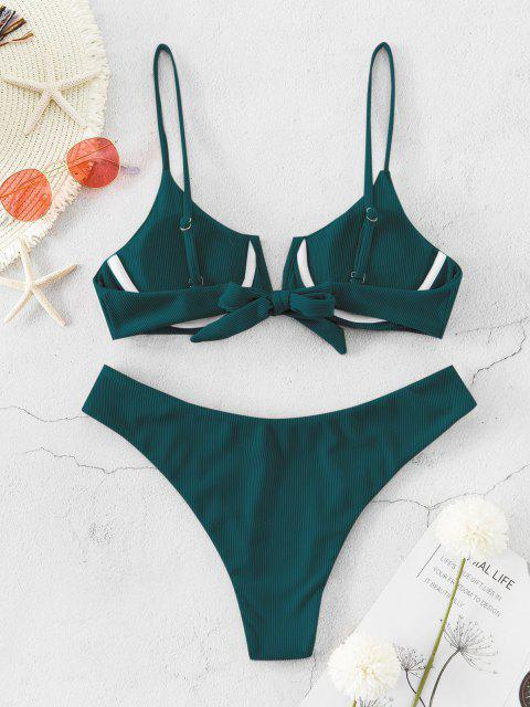 women's ZAFUL Ribbed V Wired High Leg Bikini Swimsuit - DEEP GREEN S Mobile