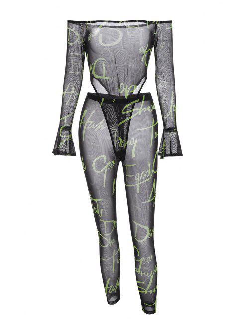 outfit Letter Off Shoulder Mesh Bodysuit with Pants Set - BLACK L Mobile
