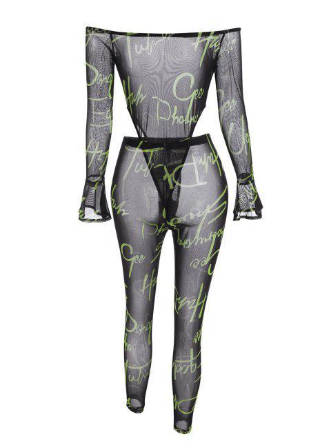 Body a Spalle Scoperte e Pantaloni a Rete con Stampa di Lettere - Nero S Mobile