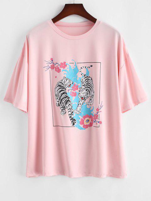 ZAFUL Übergröße Tiger Blumen Grafik T-Shirt - Helles Rosa L Mobile