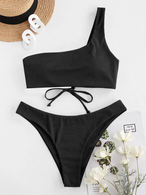 ZAFUL Ribbed Lace Up One Shoulder Bikini Swimwear - أسود S Mobile