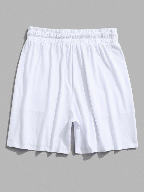 women's Elastic Waist Patched Shorts - WHITE 2XL Mobile
