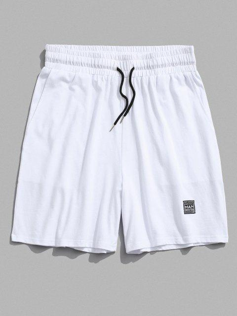 Short Taille Elastique avec Patch - Blanc M Mobile