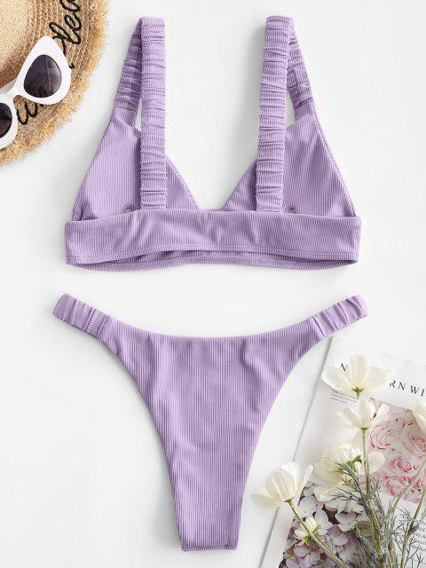 Jessica Stockstill X ZAFUL Elasticated Straps Gewellte Bikini-Badebekleidung - Helles Lila S Mobile