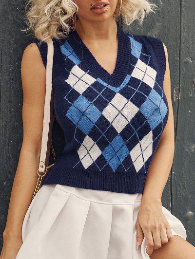 ZAFUL Argyle V Neck Ribbed Trim Sweater Vest - Deep Blue S