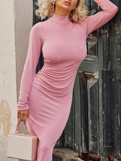 Draped Knitted Mock Neck Bodycon Tea Length Dress - Light Pink L