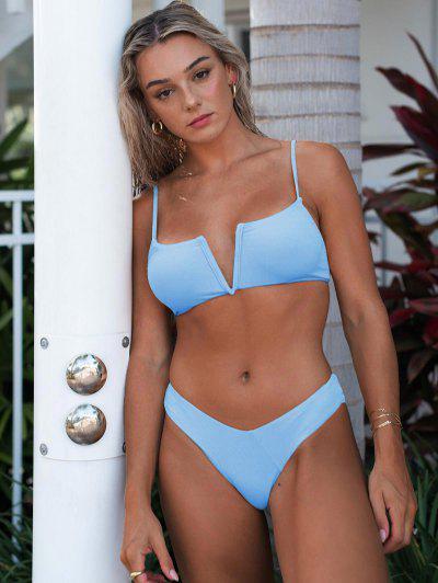 ZAFUL Depth Of Water V-notch Bikini Swimwear - Day Sky Blue L